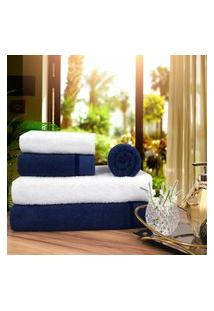 Toalha De Banho 100 Algodáo Penteado Jogo Com 2 Banháo 2 Rosto E 1 Piso Azul E Branca