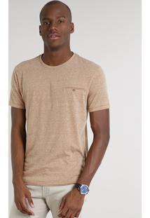 Camiseta Masculina Botonê Com Bolso Manga Curta Gola Careca Bege