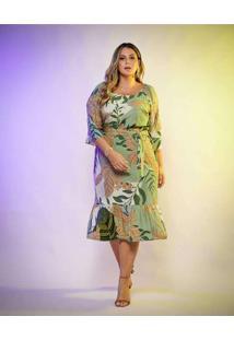 Vestido Almaria Plus Size New Umbi Midi Peplum Ver