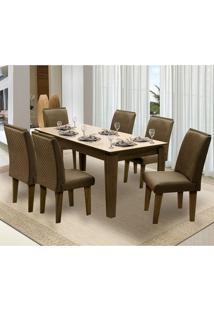 Mesa Para Sala De Jantar Saint Michel Com 6 Cadeiras – Dobuê Movelaria - Castanho / Bege / Cacau