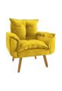Poltrona Decorativa Opala Plus Suede Amarelo