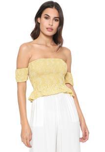 Blusa Cropped Dzarm Vichy Amarela/Branca