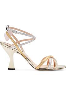 Fendi Sandália De Tiras - Dourado
