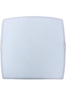 Plafon Sobrepor Attena Quadrado Pequeno 21Cm Grade Em Vidro - Branco