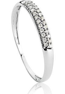 Anel De Ouro Branco 18K Com Pavê De Diamantes