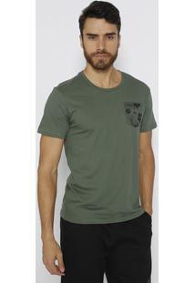 Camiseta Bolso Floral- Verde Militar & Preta- Limitslimits