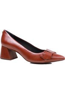 Sapato Feminino Scarpin Jorge Bischoff Salto Grosso Laço