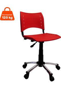 Cadeira De Escritório Secretária Giratória Evidence Ii Cromada E Vermelho