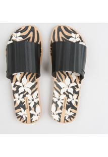 Chinelo Slide Feminino Ipanema Estampado Animal Print Preto