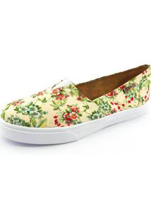 Tênis Slip On Quality Shoes 002 Feminino Floral Amarelo 202 40