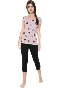 Pijama Any Any Bubble York Preto/Rosa