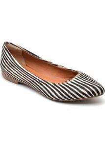 Sapatilha Feminina Estampada Zebra Bico Fino Casual Conforto - Feminino-Branco