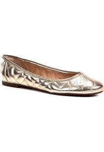 Sapatilha Shoestock Matelassê Feminina - Feminino-Dourado