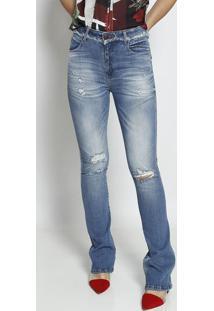 Jeans Boot Cut Com Estonado- Azul- Forumforum