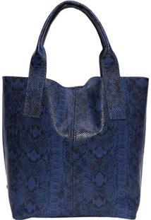Bolsa Com Pesponto Em Couro - Azul Marinho - 33X43X1Iã³Dice