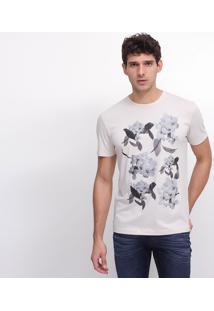 Camiseta Slim Com Estampa Floral