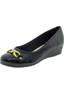 Sapato Feminino Salto Baixo Moleca - 5156439 Preto/Croco