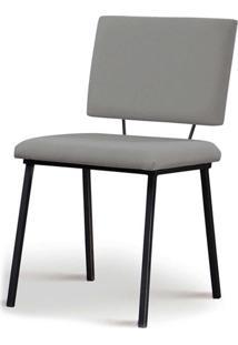 Cadeira Antonella Aco Preto Assento/Encosto Estofado Linho Cinza Daf