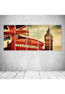 Quadro Decorativo - Inglaterra Retro - Composto De 5 Quadros - Multicolorido - Dafiti