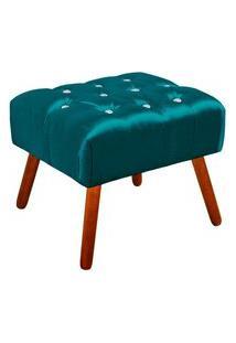 Puff Decorativo Anne Capitonê Acetinado Azul Com Strass - D'Rossi