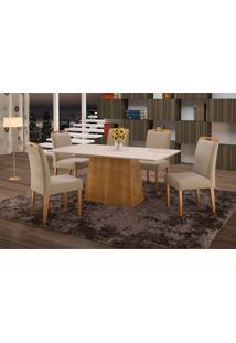 Conjunto De Mesa De Jantar Com 6 Cadeiras E Tampo De Madeira Maciça Turquia Ii Suede Marrom Claro E Off White