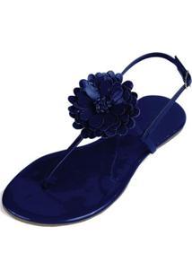 Rasteira Mercedita Shoes Verniz Flor Feminina - Feminino-Marinho