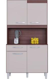 Cozinha Carine 4 Portas 1 Gaveta Capuccino/Offwhite - Lc Móveis
