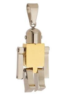 Pingente Robô Tudo Joias De Aço Inox Modelo Dourado - Unissex-Dourado