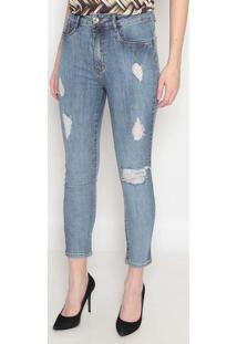 Jeans Super High Ankle Com Bolsos - Azul- Lança Perflança Perfume