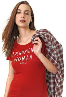 Camiseta Colcci Lettering Vermelha - Vermelho - Feminino - Viscose - Dafiti