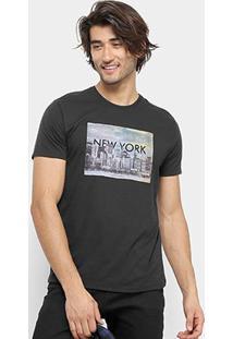 Camiseta Aleatory New York Masculina - Masculino-Preto
