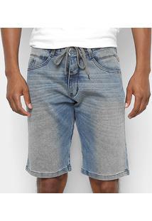Bermuda Jeans Hd Ly Cordão Lavagem Masculina - Masculino-Azul