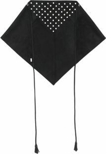 Saint Laurent Lenço Triangular Com Ilhoses - Preto