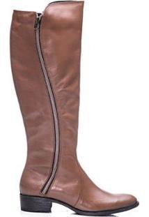 Bota Sandalo Bagger Montaria Ziper Lateral Amyah Feminina - Feminino-Caramelo