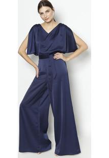 Macacã£O Pantalona Com Amarraã§Ã£O - Azul Marinhoenna