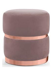 Puff Decorativo Com Cinto E Aro Rosê Round B-305 Veludo Rosê - Domi