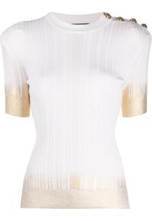 Balmain Blusa De Tricô Com Abotoamento - Branco