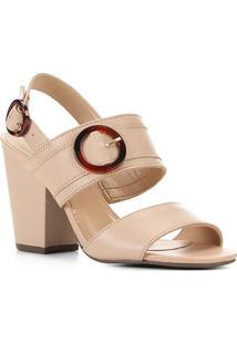 Sandália Couro Shoestock Floater Salto Alto Feminina - Feminino-Bege