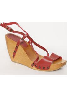 Sandália Tradicional Em Couro- Vermelha & Bege- Saltvix