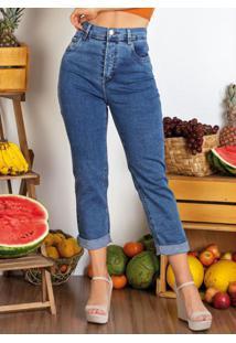 Calça Jeans Reta Com Bolsos Sawary