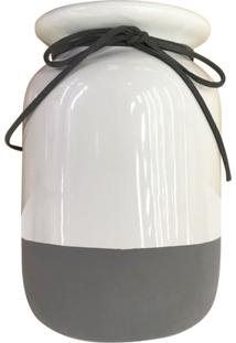 Vaso De Cerâmica Minimalista Laço Cinza E Branco