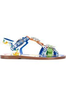 Dolce & Gabbana Sandália De Couro Estampada - Azul