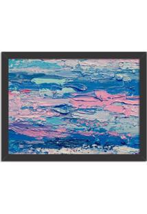 Quadro Decorativo Abstrato Moderno Azul Preto - Médio