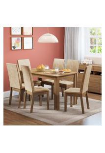 Conjunto Sala De Jantar Sara Madesa Mesa Tampo De Madeira Com 6 Cadeiras Marrom
