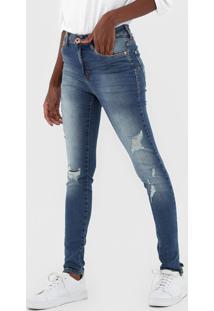 Calça Jeans Malwee Skinny Push Up Destroyed Azul