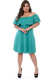 Roupas Plus Size Domenica Solazzo Vestidos Curtos Verde - Tricae