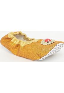 Sapatilha Em Glitter Com Pedraria- Dourada & Vermelha