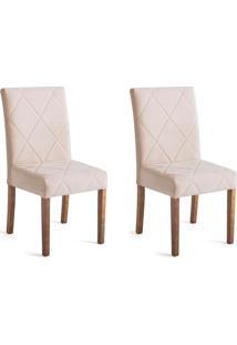 Conjunto Com 2 Cadeiras De Jantar Elle Creme E Castanho
