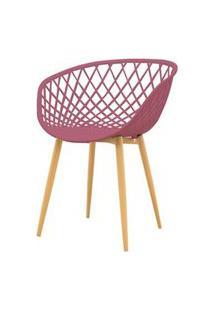 Cadeira Clarice Assento Em Polipropileno Cor Cereja Com Base Palito Cor Madeira - 49366 Preto
