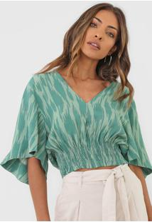 Blusa Cropped Maria Filó Ikat Agave Verde